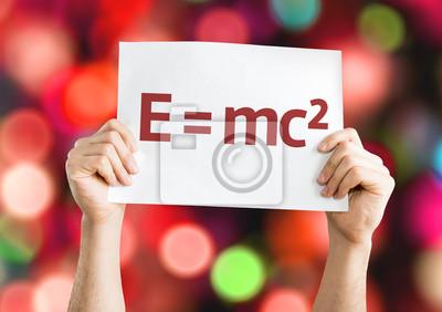 Постер E = mc2-карты с цветной фон с расфокусированным огниФормула Эйнштейна<br>Постер на холсте или бумаге. Любого нужного вам размера. В раме или без. Подвес в комплекте. Трехслойная надежная упаковка. Доставим в любую точку России. Вам осталось только повесить картину на стену!<br>