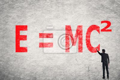 Постер Текст на стене, E = mc2Формула Эйнштейна<br>Постер на холсте или бумаге. Любого нужного вам размера. В раме или без. Подвес в комплекте. Трехслойная надежная упаковка. Доставим в любую точку России. Вам осталось только повесить картину на стену!<br>