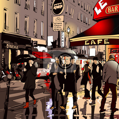 Постер Современный городской пейзаж Улица в Париже в ночное времяСовременный городской пейзаж<br>Постер на холсте или бумаге. Любого нужного вам размера. В раме или без. Подвес в комплекте. Трехслойная надежная упаковка. Доставим в любую точку России. Вам осталось только повесить картину на стену!<br>