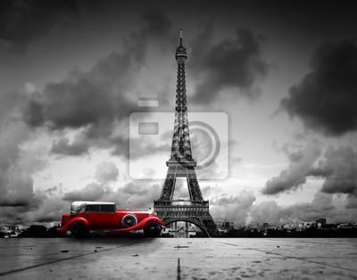 Постер Париж Эффель Башня, Париж, Франция и красный ретро автомобиль. Черный и белыйПариж<br>Постер на холсте или бумаге. Любого нужного вам размера. В раме или без. Подвес в комплекте. Трехслойная надежная упаковка. Доставим в любую точку России. Вам осталось только повесить картину на стену!<br>