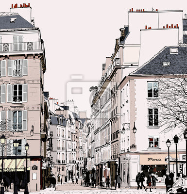 Постер Современный городской пейзаж Париж - улица в Сен-ЖерменСовременный городской пейзаж<br>Постер на холсте или бумаге. Любого нужного вам размера. В раме или без. Подвес в комплекте. Трехслойная надежная упаковка. Доставим в любую точку России. Вам осталось только повесить картину на стену!<br>
