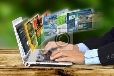 Постер Оформление офиса Интернет концепции на ноутбуке, 30x20 см, на бумагеИнформационные технологии<br>Постер на холсте или бумаге. Любого нужного вам размера. В раме или без. Подвес в комплекте. Трехслойная надежная упаковка. Доставим в любую точку России. Вам осталось только повесить картину на стену!<br>