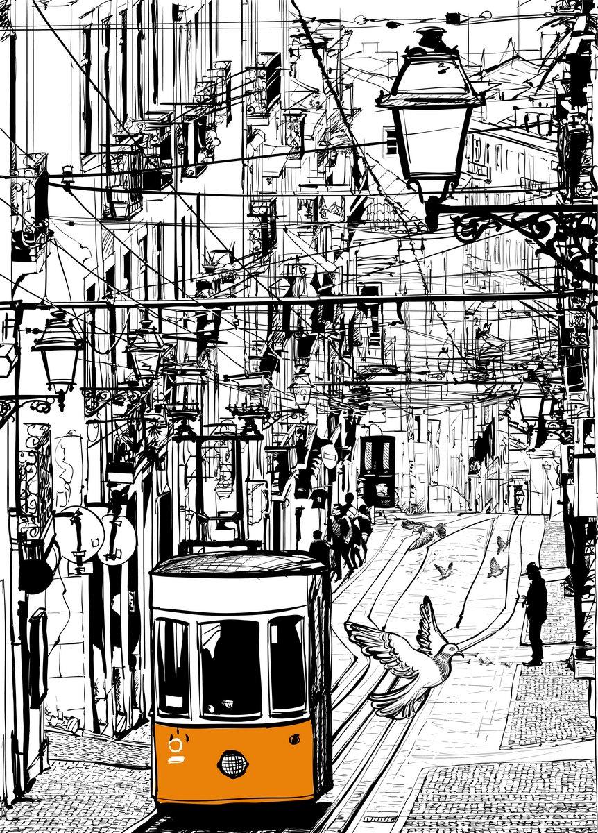 Постер Современный городской пейзаж Типичные трамвай в Лиссабоне возле площади ШиадуСовременный городской пейзаж<br>Постер на холсте или бумаге. Любого нужного вам размера. В раме или без. Подвес в комплекте. Трехслойная надежная упаковка. Доставим в любую точку России. Вам осталось только повесить картину на стену!<br>