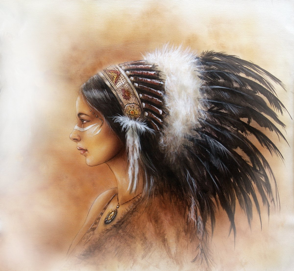 Постер Молодая индийская женщина носит большой головной убор из перьев, профиль пИндейцы<br>Постер на холсте или бумаге. Любого нужного вам размера. В раме или без. Подвес в комплекте. Трехслойная надежная упаковка. Доставим в любую точку России. Вам осталось только повесить картину на стену!<br>