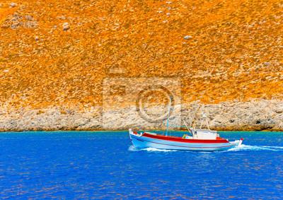 Пейзаж современный морской Традиционной рыбацкой лодке на остров Калимнос в ГрецииПейзаж современный морской<br>Репродукция на холсте или бумаге. Любого нужного вам размера. В раме или без. Подвес в комплекте. Трехслойная надежная упаковка. Доставим в любую точку России. Вам осталось только повесить картину на стену!<br>