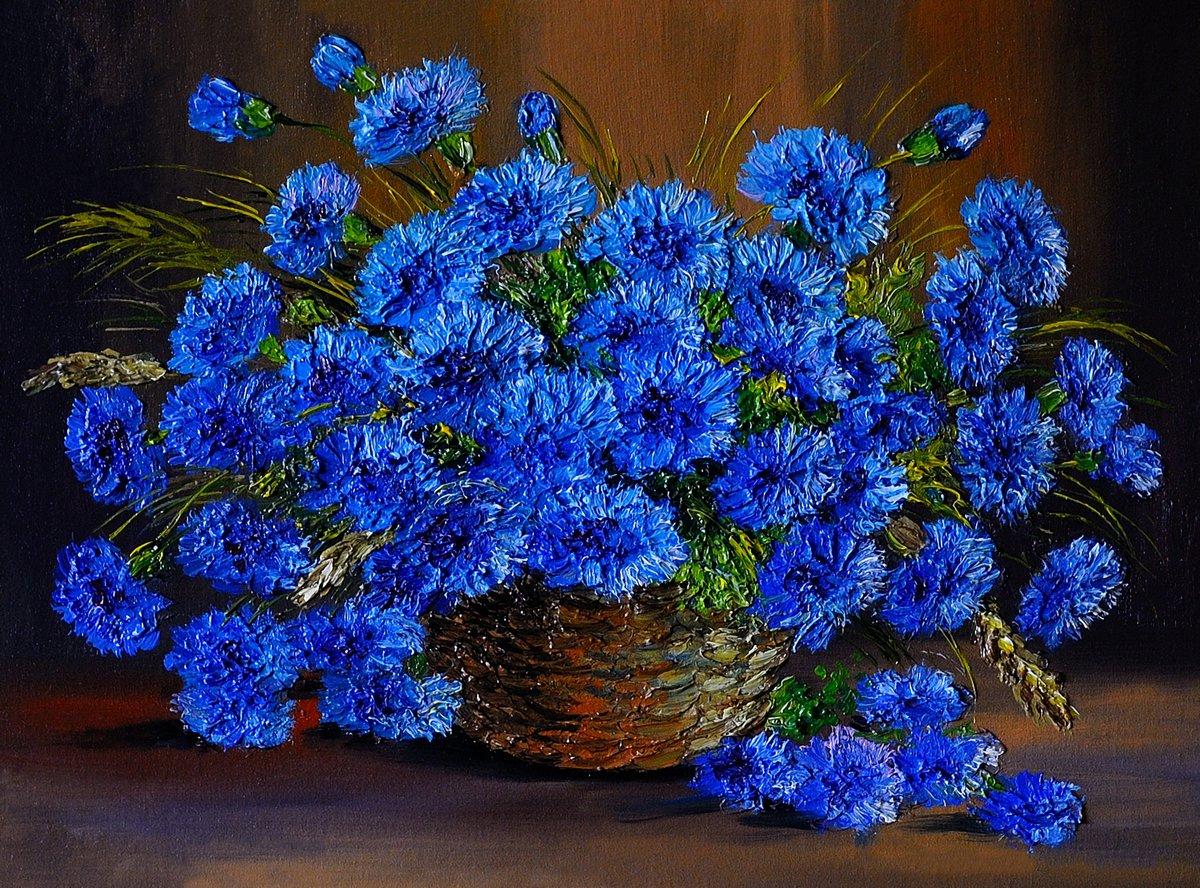 Цветы в современной живописи, картина Картина маслом синие цветы в вазе, произведение искусстваЦветы в современной живописи<br>Репродукция на холсте или бумаге. Любого нужного вам размера. В раме или без. Подвес в комплекте. Трехслойная надежная упаковка. Доставим в любую точку России. Вам осталось только повесить картину на стену!<br>
