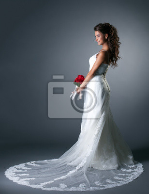 Студия фото величественных невеста в элегантном платье, 20x26 см, на бумагеСвадебный салон<br>Постер на холсте или бумаге. Любого нужного вам размера. В раме или без. Подвес в комплекте. Трехслойная надежная упаковка. Доставим в любую точку России. Вам осталось только повесить картину на стену!<br>