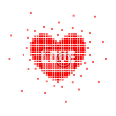 Постер-картина Пиксель-арт Пиксель сердца с любовью словоПиксель-арт<br>Постер на холсте или бумаге. Любого нужного вам размера. В раме или без. Подвес в комплекте. Трехслойная надежная упаковка. Доставим в любую точку России. Вам осталось только повесить картину на стену!<br>