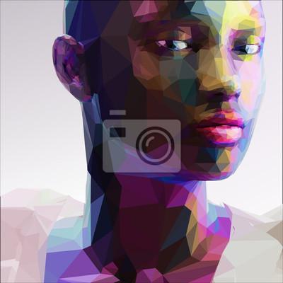 Постер-картина Полигональный арт Низкий поли абстрактный портрет с черной девушкойПолигональный арт<br>Постер на холсте или бумаге. Любого нужного вам размера. В раме или без. Подвес в комплекте. Трехслойная надежная упаковка. Доставим в любую точку России. Вам осталось только повесить картину на стену!<br>