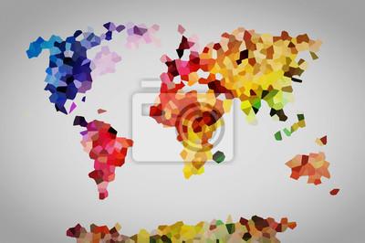 Постер-картина Полигональный арт Низкий поли красочные карта мира.Полигональный арт<br>Постер на холсте или бумаге. Любого нужного вам размера. В раме или без. Подвес в комплекте. Трехслойная надежная упаковка. Доставим в любую точку России. Вам осталось только повесить картину на стену!<br>
