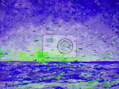 Пейзаж современный морской Закат на море, птиц в небеПейзаж современный морской<br>Репродукция на холсте или бумаге. Любого нужного вам размера. В раме или без. Подвес в комплекте. Трехслойная надежная упаковка. Доставим в любую точку России. Вам осталось только повесить картину на стену!<br>