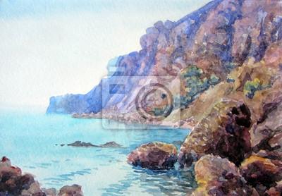 Средиземноморье, современный пейзаж Скалы у моря.Средиземноморье, современный пейзаж<br>Репродукция на холсте или бумаге. Любого нужного вам размера. В раме или без. Подвес в комплекте. Трехслойная надежная упаковка. Доставим в любую точку России. Вам осталось только повесить картину на стену!<br>