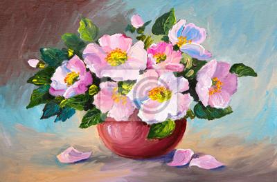 Цветы в современной живописи, картина Картина маслом весна розовый дикие розы в вазе на холсте, искусствоЦветы в современной живописи<br>Репродукция на холсте или бумаге. Любого нужного вам размера. В раме или без. Подвес в комплекте. Трехслойная надежная упаковка. Доставим в любую точку России. Вам осталось только повесить картину на стену!<br>