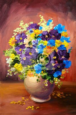 Цветы в современной живописи, картина Картина маслом весна разноцветные цветы в вазе на холстеЦветы в современной живописи<br>Репродукция на холсте или бумаге. Любого нужного вам размера. В раме или без. Подвес в комплекте. Трехслойная надежная упаковка. Доставим в любую точку России. Вам осталось только повесить картину на стену!<br>
