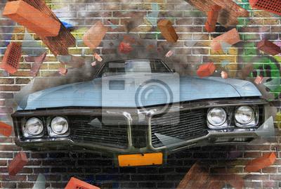Постер-картина Стрит-арт Цвет фона уличного граффити на кирпичной стенеСтрит-арт<br>Постер на холсте или бумаге. Любого нужного вам размера. В раме или без. Подвес в комплекте. Трехслойная надежная упаковка. Доставим в любую точку России. Вам осталось только повесить картину на стену!<br>