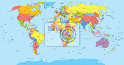 Постер Города и карты Карта мира со странами, страны и названия городов, 38x20 см, на бумагеСовременные карты мира<br>Постер на холсте или бумаге. Любого нужного вам размера. В раме или без. Подвес в комплекте. Трехслойная надежная упаковка. Доставим в любую точку России. Вам осталось только повесить картину на стену!<br>