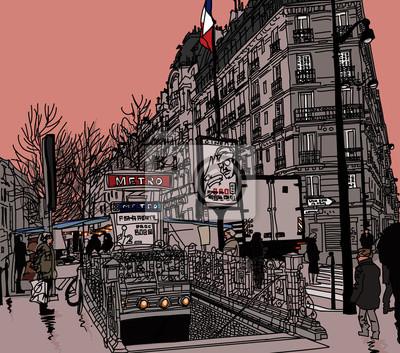 Постер Современный городской пейзаж Вид одной из улиц Парижа с метроСовременный городской пейзаж<br>Постер на холсте или бумаге. Любого нужного вам размера. В раме или без. Подвес в комплекте. Трехслойная надежная упаковка. Доставим в любую точку России. Вам осталось только повесить картину на стену!<br>