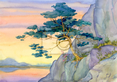 Средиземноморье, современный пейзаж Горная сосна тихий розовый Закат солнца над озеромСредиземноморье, современный пейзаж<br>Репродукция на холсте или бумаге. Любого нужного вам размера. В раме или без. Подвес в комплекте. Трехслойная надежная упаковка. Доставим в любую точку России. Вам осталось только повесить картину на стену!<br>