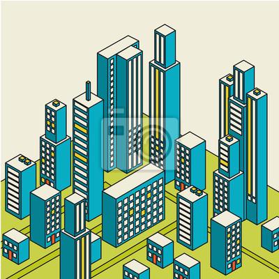 Постер Современный городской пейзаж Векторные изометрические центра на карте с большим количеством зданийСовременный городской пейзаж<br>Постер на холсте или бумаге. Любого нужного вам размера. В раме или без. Подвес в комплекте. Трехслойная надежная упаковка. Доставим в любую точку России. Вам осталось только повесить картину на стену!<br>