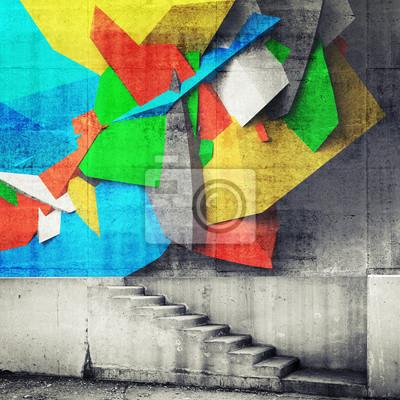 Постер-картина Стрит-арт Лестница и абстрактный фрагмент граффити на стенеСтрит-арт<br>Постер на холсте или бумаге. Любого нужного вам размера. В раме или без. Подвес в комплекте. Трехслойная надежная упаковка. Доставим в любую точку России. Вам осталось только повесить картину на стену!<br>
