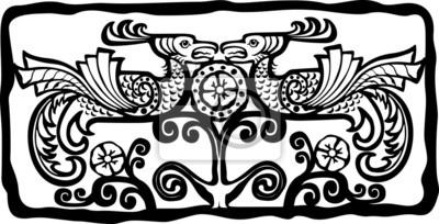 Птица Феникс, картина Этнические птицы Феникс тотем. Черный и белый. ВекторПтица Феникс<br>Репродукция на холсте или бумаге. Любого нужного вам размера. В раме или без. Подвес в комплекте. Трехслойная надежная упаковка. Доставим в любую точку России. Вам осталось только повесить картину на стену!<br>