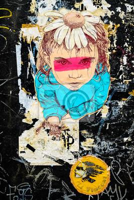 Постер-картина Стрит-арт Цветочница граффитиСтрит-арт<br>Постер на холсте или бумаге. Любого нужного вам размера. В раме или без. Подвес в комплекте. Трехслойная надежная упаковка. Доставим в любую точку России. Вам осталось только повесить картину на стену!<br>