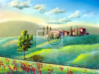 Постер Тоскана Итальянский пейзажТоскана<br>Постер на холсте или бумаге. Любого нужного вам размера. В раме или без. Подвес в комплекте. Трехслойная надежная упаковка. Доставим в любую точку России. Вам осталось только повесить картину на стену!<br>