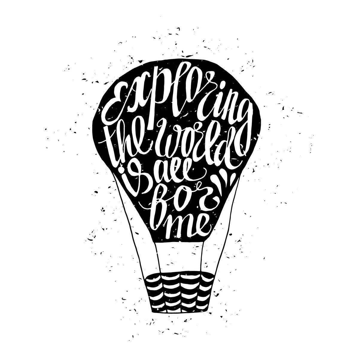Постер-картина Мотивационный плакат Мотивационные поездки плакат с воздушный шарикМотивационный плакат<br>Постер на холсте или бумаге. Любого нужного вам размера. В раме или без. Подвес в комплекте. Трехслойная надежная упаковка. Доставим в любую точку России. Вам осталось только повесить картину на стену!<br>