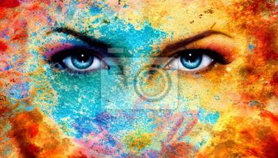 Пара красивых синий женщины глаза заблестели, цвет эффектом ржавчины,, 35x20 см, на бумагеГлаза<br>Постер на холсте или бумаге. Любого нужного вам размера. В раме или без. Подвес в комплекте. Трехслойная надежная упаковка. Доставим в любую точку России. Вам осталось только повесить картину на стену!<br>