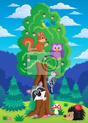 Постер Разные детские постеры Дерево с различных животных тема 2Разные детские постеры<br>Постер на холсте или бумаге. Любого нужного вам размера. В раме или без. Подвес в комплекте. Трехслойная надежная упаковка. Доставим в любую точку России. Вам осталось только повесить картину на стену!<br>