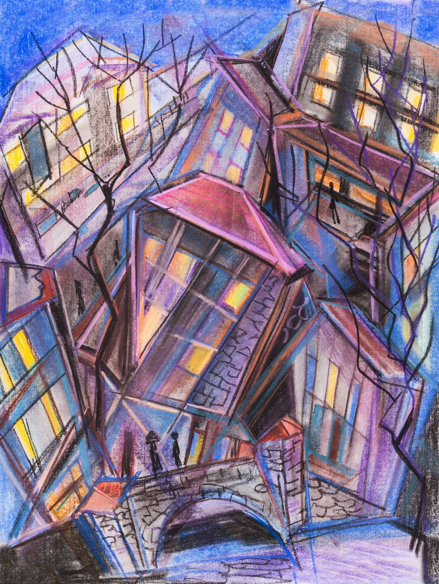 Пейзаж современный городской Город ночьюПейзаж современный городской<br>Репродукция на холсте или бумаге. Любого нужного вам размера. В раме или без. Подвес в комплекте. Трехслойная надежная упаковка. Доставим в любую точку России. Вам осталось только повесить картину на стену!<br>