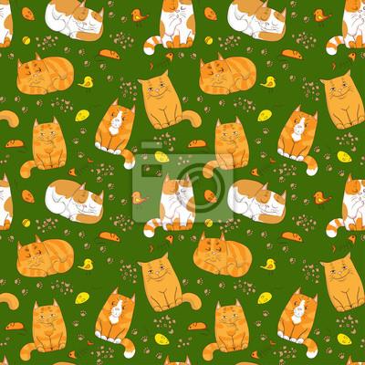 Постер Дизайнерские обои для детской Милые кошки бесшовные шаблонДизайнерские обои для детской<br>Постер на холсте или бумаге. Любого нужного вам размера. В раме или без. Подвес в комплекте. Трехслойная надежная упаковка. Доставим в любую точку России. Вам осталось только повесить картину на стену!<br>