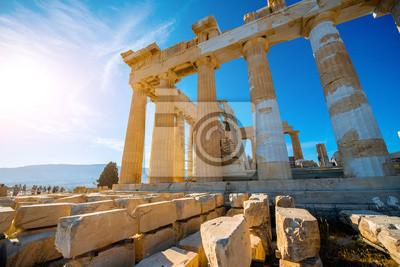 Постер Афины, Акрополь Храм парфенон в АкрополеАфины, Акрополь<br>Постер на холсте или бумаге. Любого нужного вам размера. В раме или без. Подвес в комплекте. Трехслойная надежная упаковка. Доставим в любую точку России. Вам осталось только повесить картину на стену!<br>