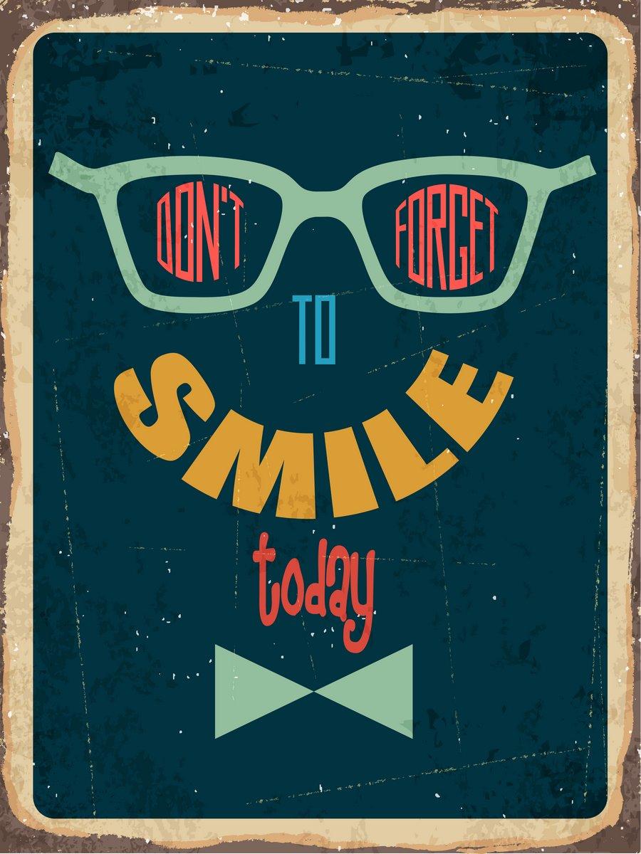 Постер-картина Мотивационный плакат Ретро металлический знак не забывай улыбатьсяМотивационный плакат<br>Постер на холсте или бумаге. Любого нужного вам размера. В раме или без. Подвес в комплекте. Трехслойная надежная упаковка. Доставим в любую точку России. Вам осталось только повесить картину на стену!<br>
