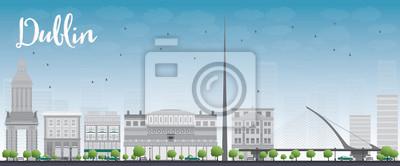 Постер Дублин Дублин Skyline с серыми зданиями и голубое небо, ИрландияДублин<br>Постер на холсте или бумаге. Любого нужного вам размера. В раме или без. Подвес в комплекте. Трехслойная надежная упаковка. Доставим в любую точку России. Вам осталось только повесить картину на стену!<br>