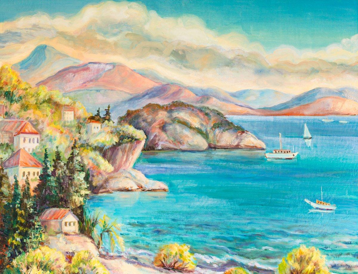 Средиземноморье, современный пейзаж Море и горыСредиземноморье, современный пейзаж<br>Репродукция на холсте или бумаге. Любого нужного вам размера. В раме или без. Подвес в комплекте. Трехслойная надежная упаковка. Доставим в любую точку России. Вам осталось только повесить картину на стену!<br>