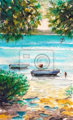 Пейзаж современный морской Летний пейзаж с лодки в заливе. Акварели.Пейзаж современный морской<br>Репродукция на холсте или бумаге. Любого нужного вам размера. В раме или без. Подвес в комплекте. Трехслойная надежная упаковка. Доставим в любую точку России. Вам осталось только повесить картину на стену!<br>