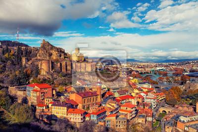 Постер Тбилиси Beautiful panoramic view of Tbilisi at sunset, Georgia countryТбилиси<br>Постер на холсте или бумаге. Любого нужного вам размера. В раме или без. Подвес в комплекте. Трехслойная надежная упаковка. Доставим в любую точку России. Вам осталось только повесить картину на стену!<br>
