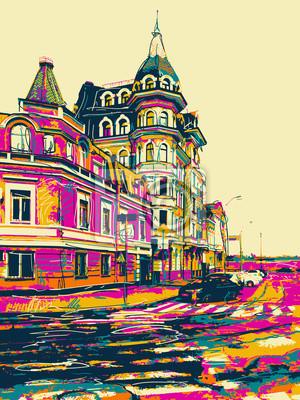Постер Современный городской пейзаж Эскиз рисунка из города Киев модерн пейзаж, Подол, УкраинаСовременный городской пейзаж<br>Постер на холсте или бумаге. Любого нужного вам размера. В раме или без. Подвес в комплекте. Трехслойная надежная упаковка. Доставим в любую точку России. Вам осталось только повесить картину на стену!<br>