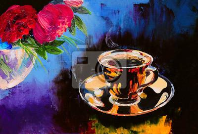 Постер Цветы в современной живописи Картина маслом - чашка кофе на столе рядом с цветамиЦветы в современной живописи<br>Постер на холсте или бумаге. Любого нужного вам размера. В раме или без. Подвес в комплекте. Трехслойная надежная упаковка. Доставим в любую точку России. Вам осталось только повесить картину на стену!<br>