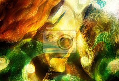 Птица Феникс, картина Лучистые эльфийские феи женщина существо света и энергии, и птица Птица Феникс<br>Репродукция на холсте или бумаге. Любого нужного вам размера. В раме или без. Подвес в комплекте. Трехслойная надежная упаковка. Доставим в любую точку России. Вам осталось только повесить картину на стену!<br>