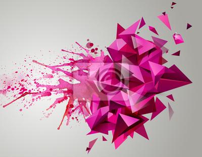 Постер-картина Полигональный арт Геометрическая розовый абстрактный баннер. Современные треугольные сформированы художественные кляксы.Полигональный арт<br>Постер на холсте или бумаге. Любого нужного вам размера. В раме или без. Подвес в комплекте. Трехслойная надежная упаковка. Доставим в любую точку России. Вам осталось только повесить картину на стену!<br>