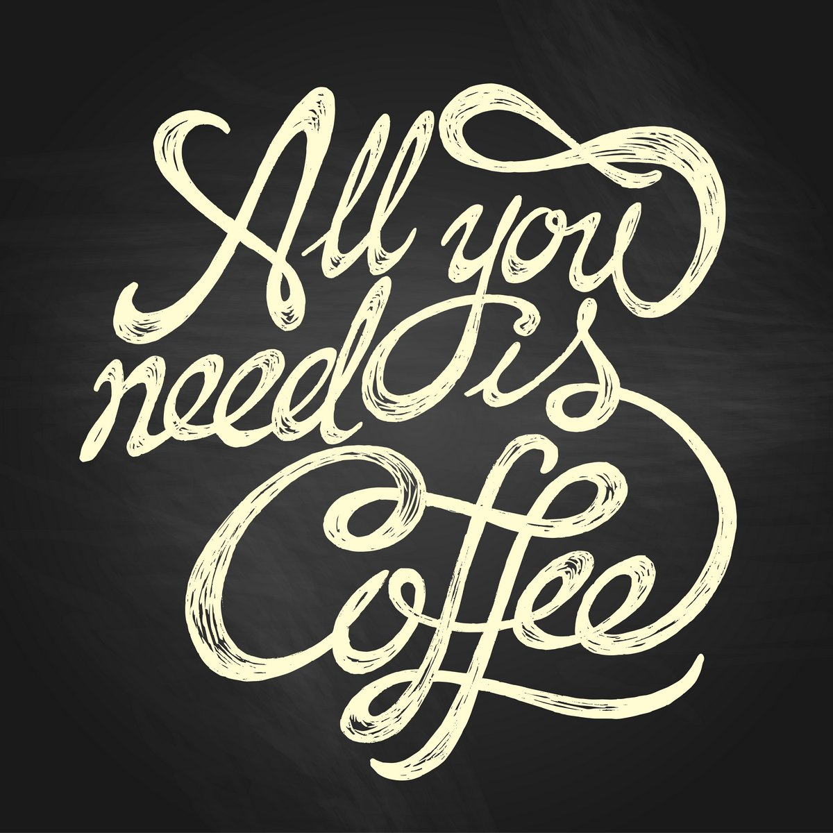 Постер-картина Мотивационный плакат Все, что Вам нужно, это кофе - рисованной Цитата, белые на доске фонеМотивационный плакат<br>Постер на холсте или бумаге. Любого нужного вам размера. В раме или без. Подвес в комплекте. Трехслойная надежная упаковка. Доставим в любую точку России. Вам осталось только повесить картину на стену!<br>