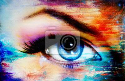 Голубые глаза женщины с фиолетовый и розовый дневной макияж. Цвет живопись, 31x20 см, на бумагеГлаза<br>Постер на холсте или бумаге. Любого нужного вам размера. В раме или без. Подвес в комплекте. Трехслойная надежная упаковка. Доставим в любую точку России. Вам осталось только повесить картину на стену!<br>