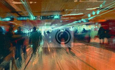 Постер Современный городской пейзаж Цифровая живопись движения размытые люди, идущие в терминалеСовременный городской пейзаж<br>Постер на холсте или бумаге. Любого нужного вам размера. В раме или без. Подвес в комплекте. Трехслойная надежная упаковка. Доставим в любую точку России. Вам осталось только повесить картину на стену!<br>