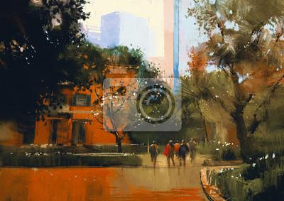 Постер Современный городской пейзаж Городской пейзаж с людьми.цифровая живописьСовременный городской пейзаж<br>Постер на холсте или бумаге. Любого нужного вам размера. В раме или без. Подвес в комплекте. Трехслойная надежная упаковка. Доставим в любую точку России. Вам осталось только повесить картину на стену!<br>
