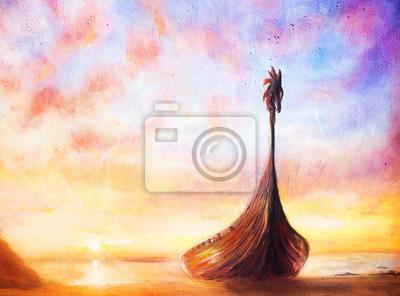 Пейзаж современный морской Лодка викингов на пляже, живопись, холст, лодка с дерева Пейзаж современный морской<br>Репродукция на холсте или бумаге. Любого нужного вам размера. В раме или без. Подвес в комплекте. Трехслойная надежная упаковка. Доставим в любую точку России. Вам осталось только повесить картину на стену!<br>