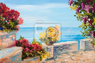 Картина маслом пейзаж - терраса возле моря, цветы, 30x20 см, на бумагеСредиземноморье, современный пейзаж<br>Постер на холсте или бумаге. Любого нужного вам размера. В раме или без. Подвес в комплекте. Трехслойная надежная упаковка. Доставим в любую точку России. Вам осталось только повесить картину на стену!<br>