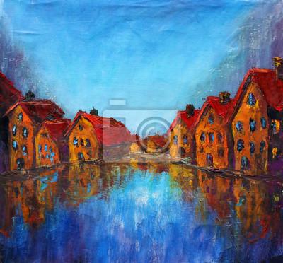Постер Современный городской пейзаж Желтые старые дома с красными крышами отражаются в голубой воде. Современный городской пейзаж<br>Постер на холсте или бумаге. Любого нужного вам размера. В раме или без. Подвес в комплекте. Трехслойная надежная упаковка. Доставим в любую точку России. Вам осталось только повесить картину на стену!<br>