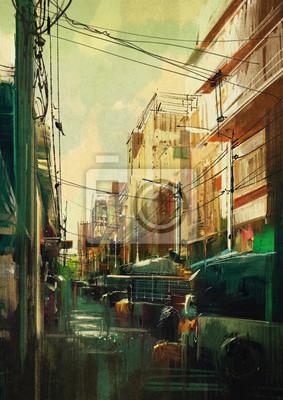 Постер Современный городской пейзаж Красочный городской пейзаж цифровой живописиСовременный городской пейзаж<br>Постер на холсте или бумаге. Любого нужного вам размера. В раме или без. Подвес в комплекте. Трехслойная надежная упаковка. Доставим в любую точку России. Вам осталось только повесить картину на стену!<br>